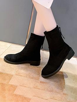 Inner Plush Black Round Toe Boots Online