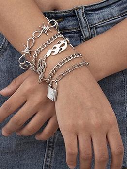 Alloy Material Punk Ladies Bracelet Set