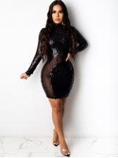 Mock Neck Sequin Long Sleeve Bodycon Dress