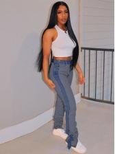 Color Patch Split Hem Stacked Jeans For Women