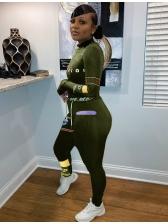Mock Neck Letter Print Black Skinny Women Set