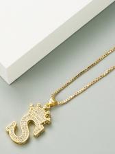 Zircon Simple Letter Necklace For Women