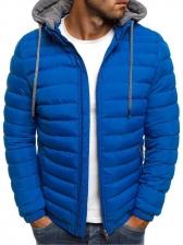 Outdoor Solid Zipper Hoodie Winter Coat