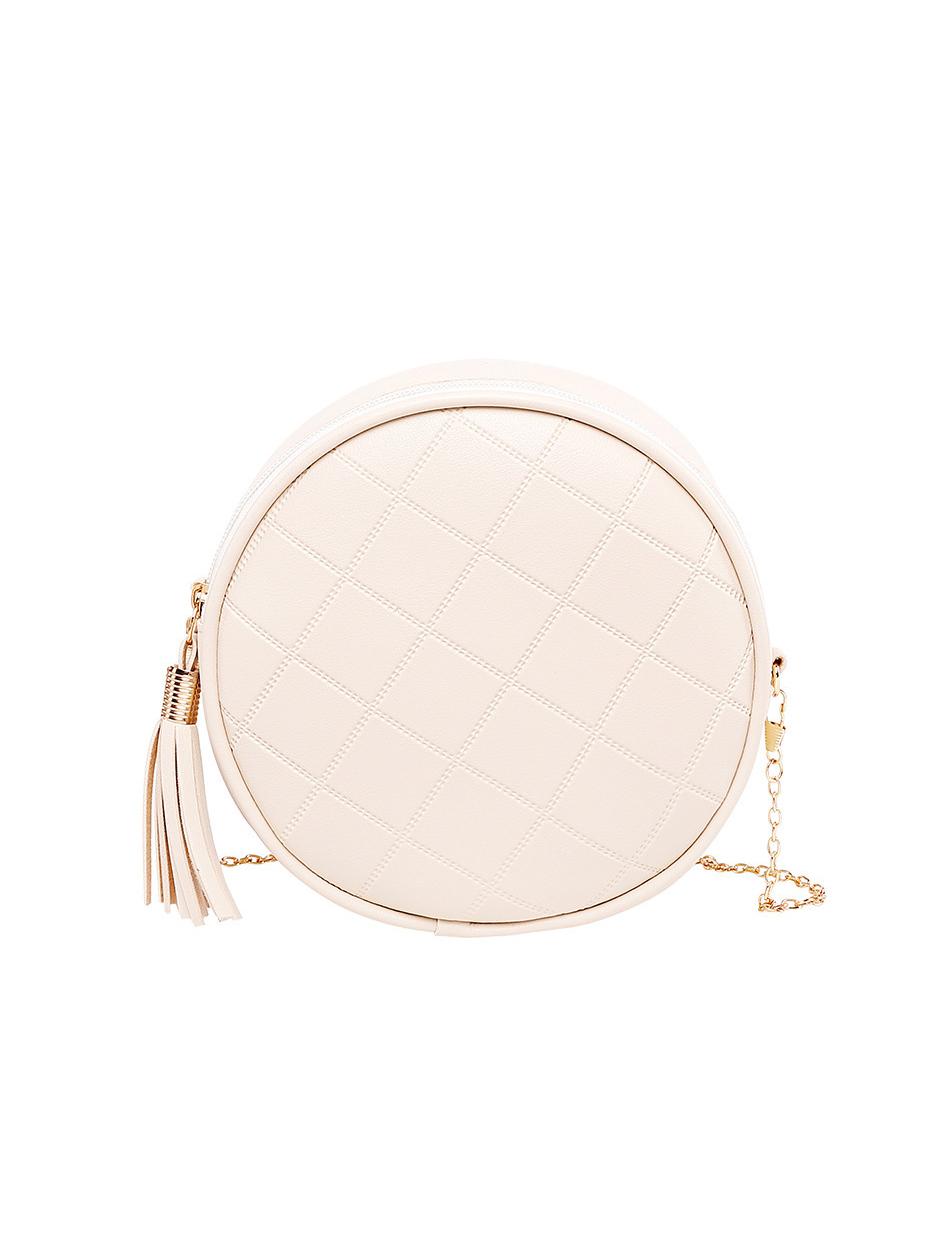 Rhombic Pattern Tassel Round Shoulder Bags