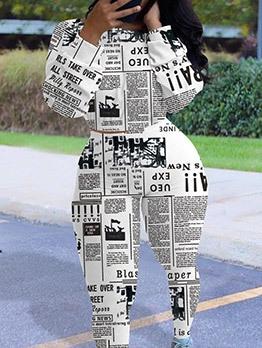 Fashion Newspaper Print Two Piece Sets