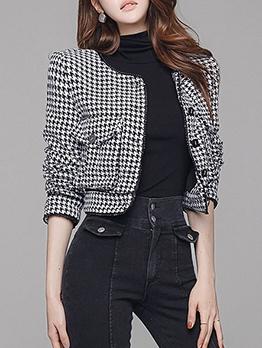 Fashion Houndstooth Long Sleeve Ladies Coats