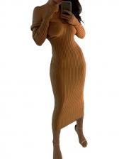 Solid Off Shoulder Long Sleeve Midi Dress