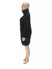 Loose Zipper Up Turtle Neck Long Sleeve Dress