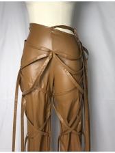 Chic Multiple Ribbon PU Leather Pants