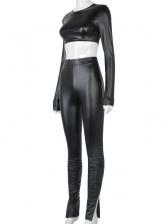 Fashion Ruched Pants PU Two Piece Set