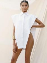 Loose Turn-Down Collar Irregular Women Blouses