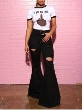 Versatile Ripped Black Women Flare Jeans