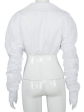 Fashion White Ruched Long Sleeve Blouse