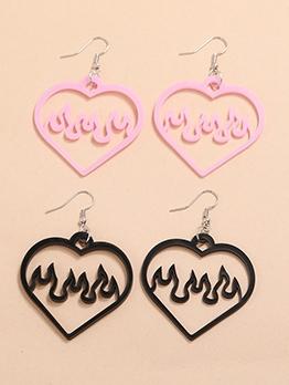 Summer Simple Acrylic Heart Shape Earrings