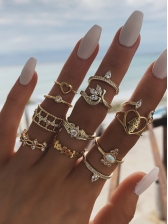 Casual Hollow Out Geometric Rings Set
