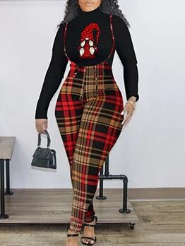 Fashion Print Plaid Two Piece Sets