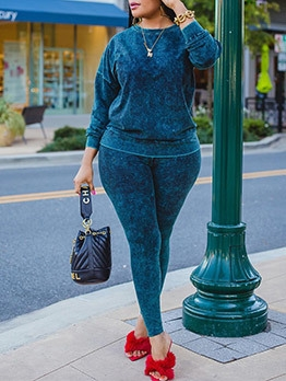 Casual Solid Plus Size Two Piece Outfits