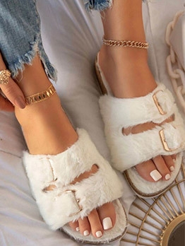 Chic Solid Color Open Toe House Slippers