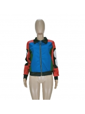 Color Block Zipper Up Winter Jacket