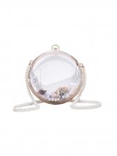 Faux Pearl Strap Transparent Round Shoulder Bags