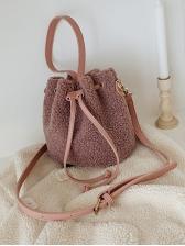 Simple Design Solid Color Furry Bucket Bag