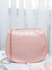 Easy Matching Solid Chain Saddle Bag