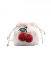 Cute Cherry Velvet Crossbody Shoulder Bag