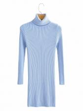 Plain High Neck Knit Long Sleeve Short Dress