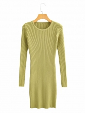 Crew Neck Fitted Knit Long Sleeve Dress