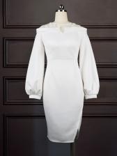 Gauze Patchwork Lantern Long Sleeve Ladies Dress