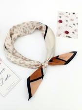 Contrast Color Plaid Leopard Scarves