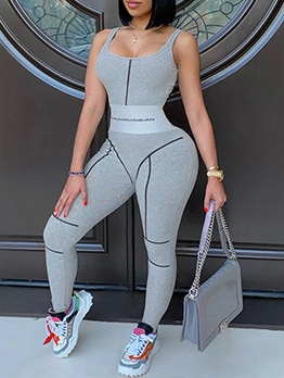 Fitted Sport Yoga Sleeveless Jumpsuits