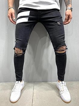 Street Contrast Color Hole Jeans Men
