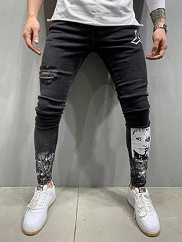 Autumn Print Denim Pants For Men