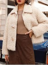 Fashion Turndown Collar Faux Fur Coat