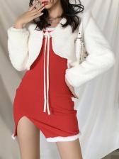 Bow Decor Fur Trim Split Sleeveless Dress