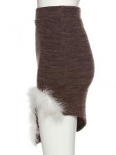 Feather Trim Irregular High Waisted Skirt