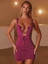 Sexy Ruched Short Sleeveless Dress