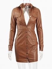 Single Breasted PU Long Sleeve Short Dress