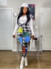 Plaid Color Block Suspender Overalls For Women