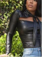 Chic Tie Neck Off shoulder Leather  T Shirt