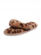 Faux Fur Round Toe Flip Flop Slippers