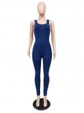 Seductive Open Back Solid Ladies Jumpsuits