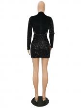 Sexy Nightclub Sequined Long Sleeve Bodycon Dress