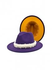Faux-Pearl Decoration Reversible Color Fedora Hat