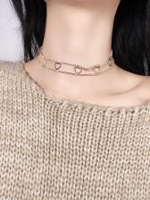 Bling Rhinestone Heart Design Choker Necklace