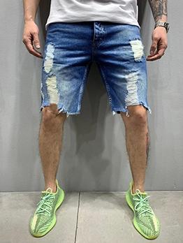 Fashion Ripped Denim Half Jeans For Men