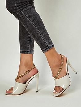 Euro Square Toe Chain Decor Heel Sandal