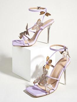 Fashion Bow Decor Square Toe Walking Sandals