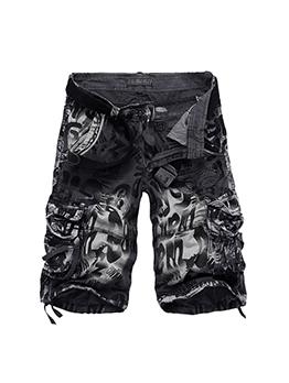 Personality Camouflage Pocket Cargo Half Pants